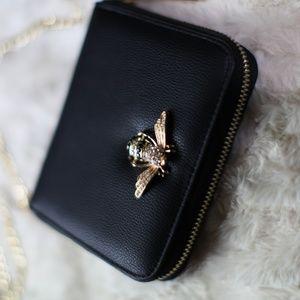 Handbags - Crystal Bee It Crossbody Wallet Jewel Black Gold